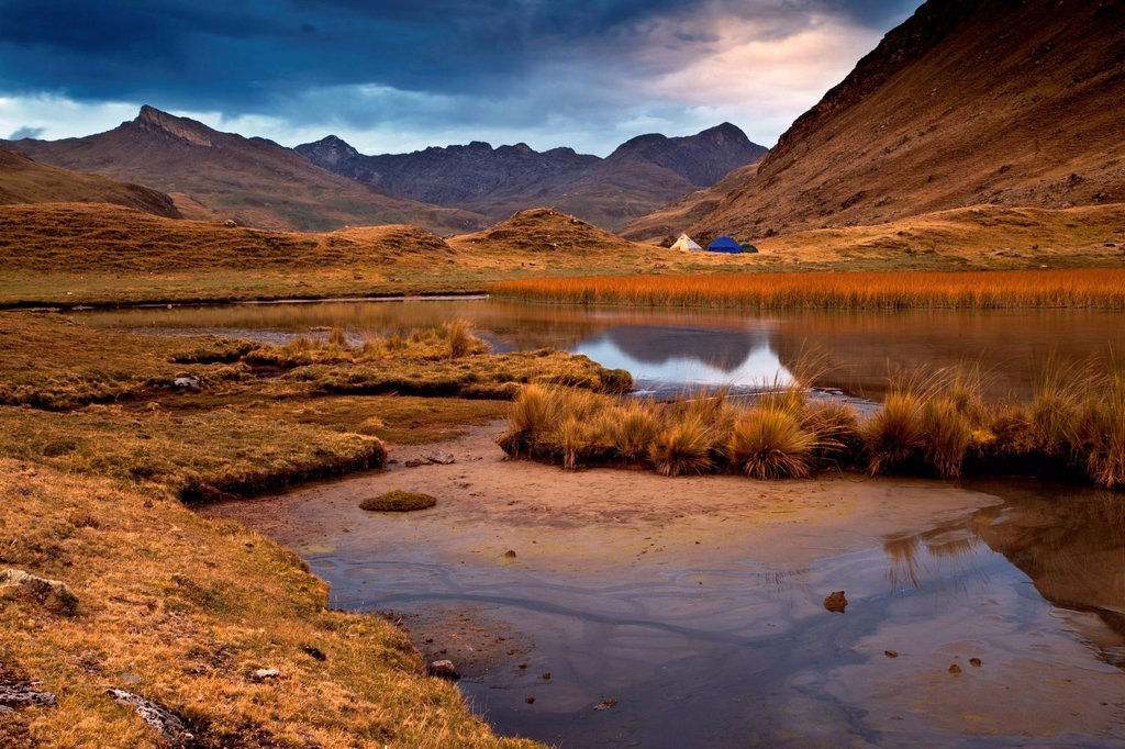 Stock Photo: 1848-624470 Tent camp, evening mood, Lake Laguna Mitucocha, Cordillera Huayhuash mountain range, Andes, Peru, South America