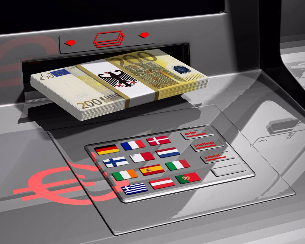 Stock Photo: 1848-624483 ATM with flags of the EU, symbolic image for the euro rescue package, illustration