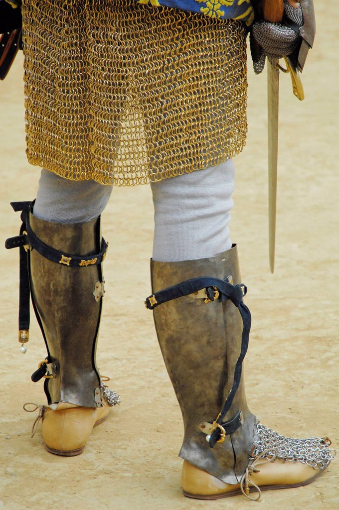 Stock Photo: 1848-624646 Boots and chain mail, detail view, people in medieval costumes representing their respective districts at the Palio, Piazza del Campo, Siena, Tuscany, Italy, Europe