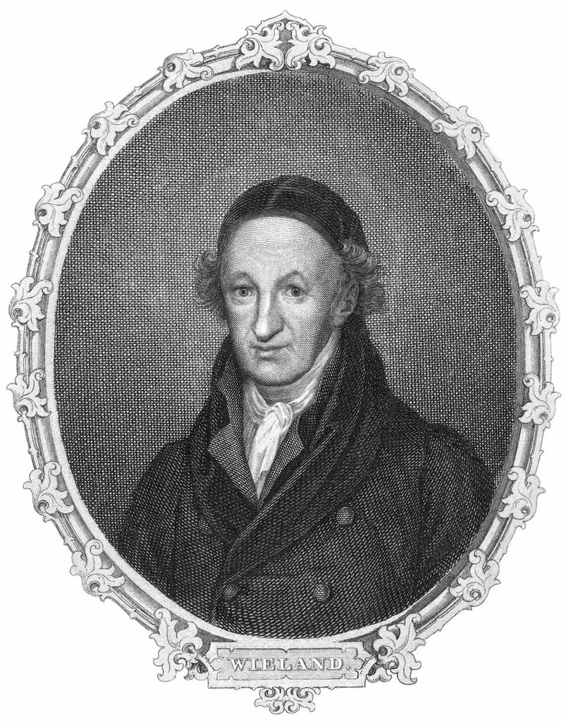 Stock Photo: 1848-625042 Historic steel engraving from the 19th century, portrait of Christoph Martin Wieland, 1733 _ 1813, a German poet, translator and editor of the Age of Enlightenment