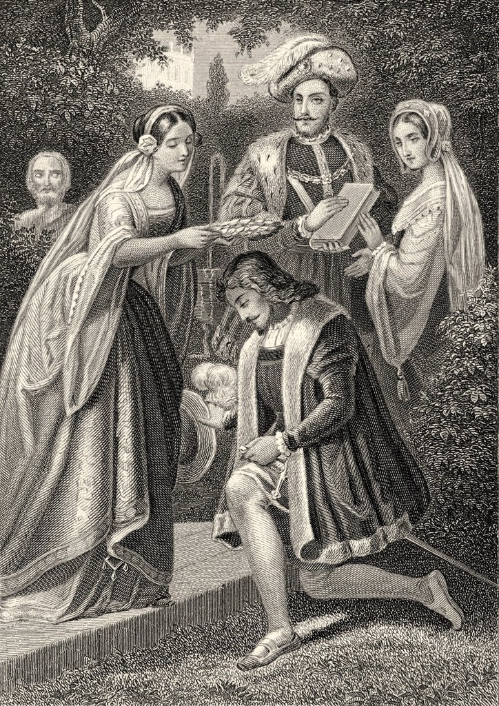 Stock Photo: 1848-625051 Historic steel engraving by Johann Baptist Wilhelm Adolf Sonderland, 1805 _ 1878, a German illustrator, Princess Leonore putting the laurel wreath on Torquato Tasso´s head, in the garden of the Belriguardo palace near Ferrara, scene from Torquato Tasso, a. Historic steel engraving by Johann Baptist Wilhelm Adolf Sonderland, 1805 _ 1878, a German illustrator, Princess Leonore putting the laurel wreath on Torquato Tasso´s head, in the garden of the Belriguardo palace near Ferrara, scene from Torqu