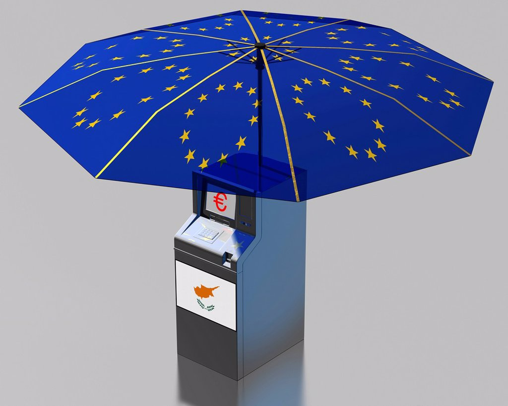Stock Photo: 1848-625100 ATM with a Cypriot flag under an umbrella with the stars of the EU, symbolic image for the euro rescue package for Cyprus, illustration
