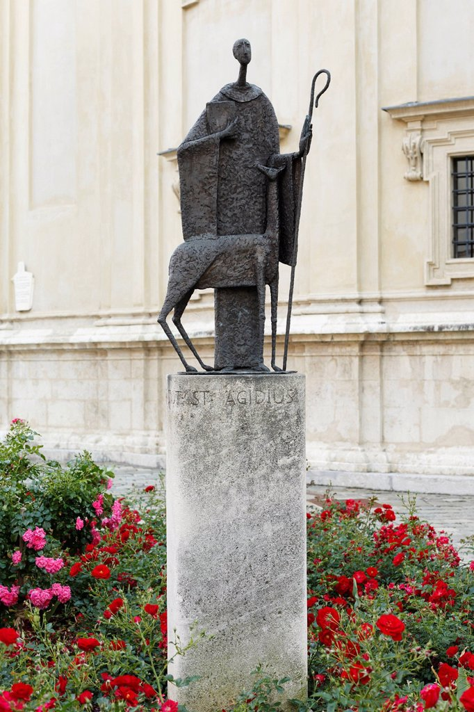 Saint Aegydius in front of Graz Cathedral, Graz, Styria, Austria, Europe, PublicGround : Stock Photo