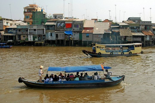 Ferry traffic in My Tho Viet Nam : Stock Photo