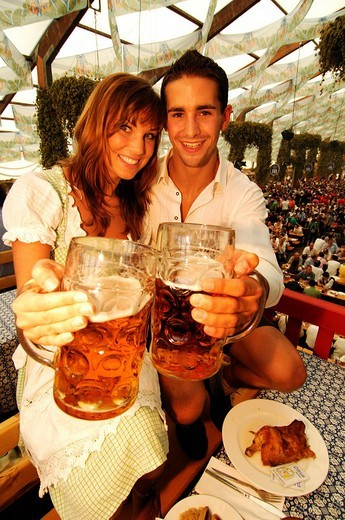 Stock Photo: 1848-62561 Oktoberfest Beer Festival, Wies´n, couple in a beer tent, Munich, Bavaria, Germany, Europe