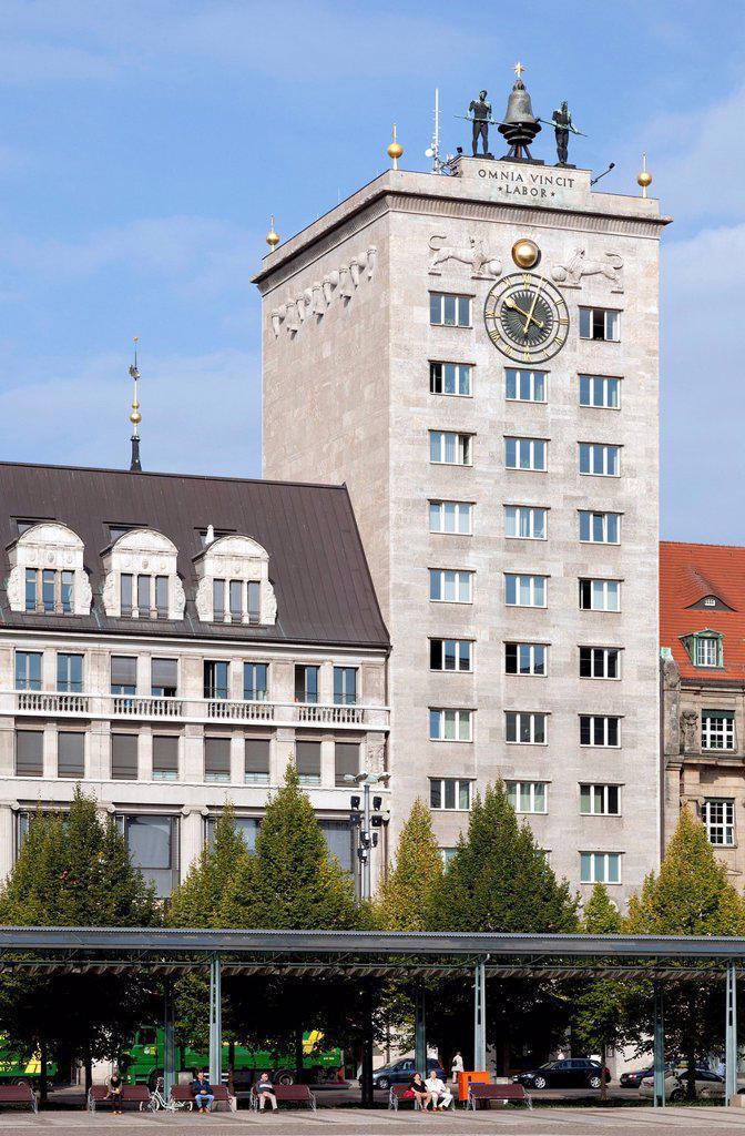 Kroch_Haus building, Augustusplatz square, Leipzig, Saxony, Germany, Europe, PublicGround : Stock Photo
