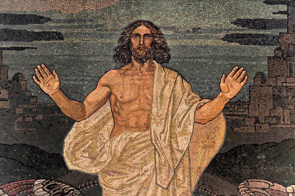 Stock Photo: 1848-626079 Detail view, altar image, glas mosaic, Jesus risen, Baroque church of St Michaelis, St Michael, Michel, first start of construction 1647_1750, Hanseatic City of Hamburg, Germany, Europe
