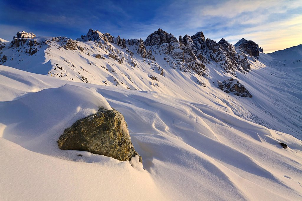 Mt Kalkkoegel in winter with snow formations, Axamer Lizum, Tyrol, Austria, Europe : Stock Photo
