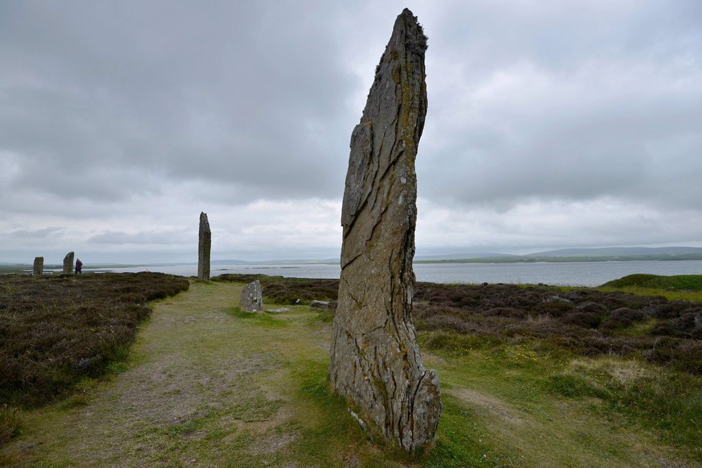 Standing stones, stone circle, Ring of Brodgar, henge, Mainland, Orkney Islands, Scotland, United Kingdom, Europe : Stock Photo