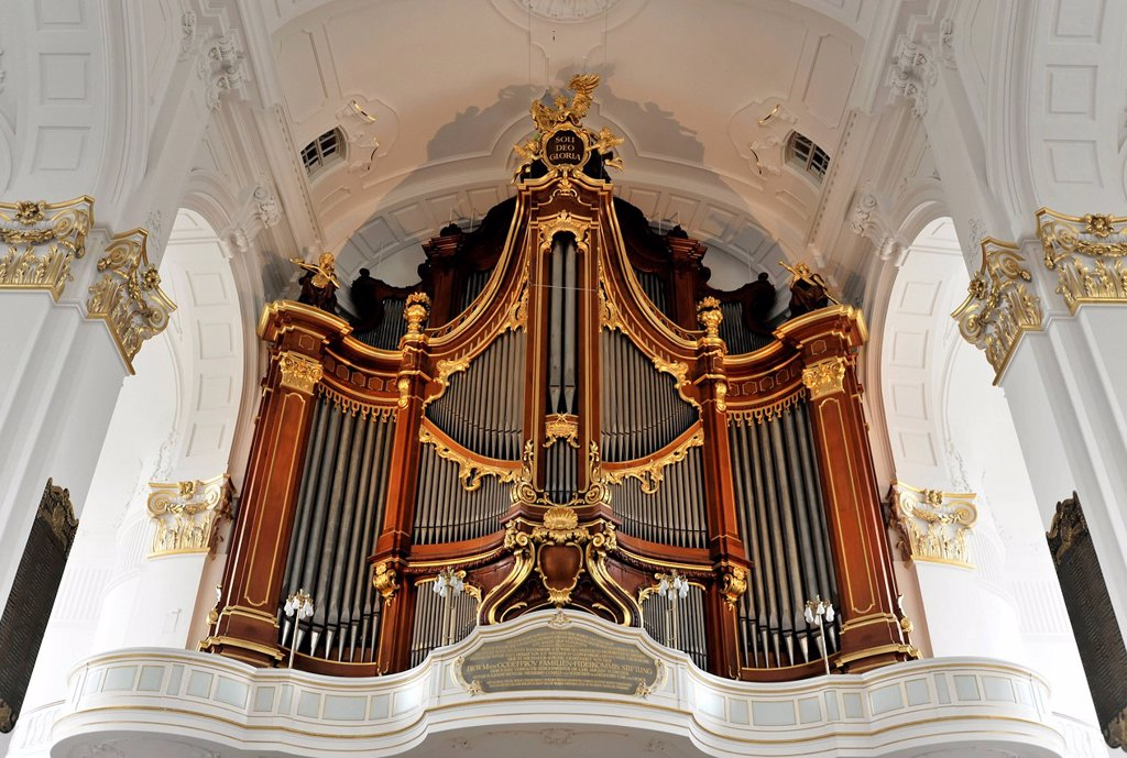Stock Photo: 1848-626819 Main organ, Baroque church of St Michaelis, St Michael, Michel, first start of construction 1647_1750, Hanseatic City of Hamburg, Germany, Europe