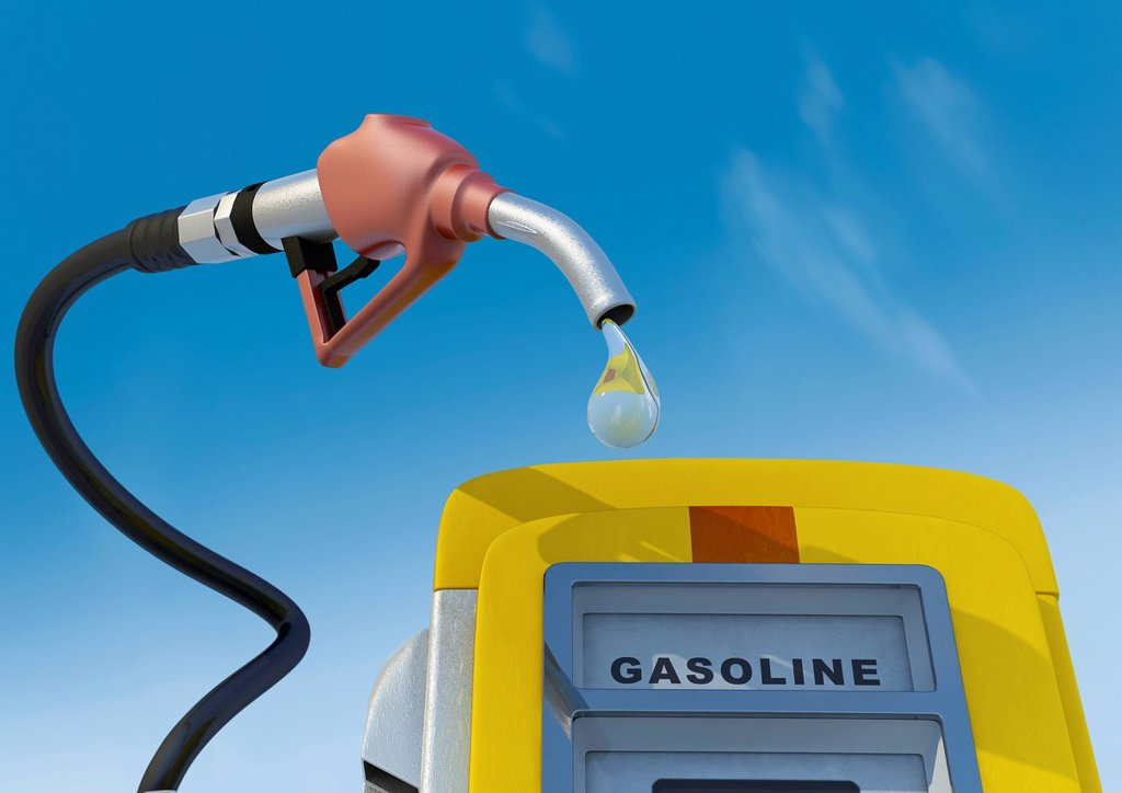 Stock Photo: 1848-626848 Petrol pump nozzle and pump with drop, gasoline