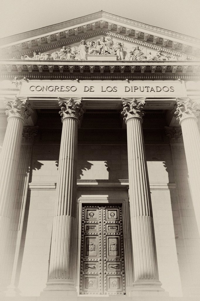 Stock Photo: 1848-626935 Lettering and relief in the tympanum above the main entrance, gate, sepia, vignette, Congreso de los Diputados, house of representatives, part of the Cortes Generales parliament, Madrid, Spain, Europe, PublicGround
