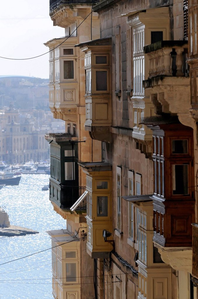 Stock Photo: 1848-626962 Balcony, row of houses, old town of Valletta, Malta, Europe