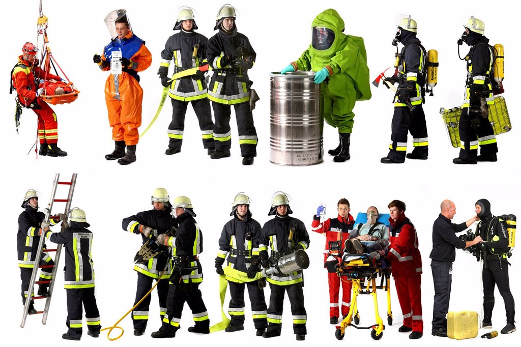 Firefighters wearing different uniforms, including a chemical protection suit, paramedics, a high_angle rescuer, a scuba diving suit and a protective suit for disease control : Stock Photo