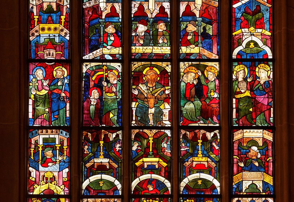 Stained glass window, Leonhardikirche, St. Leonhard´s Church, Bad St. Leonhard in Lavanttal Valley, Carinthia, Austria, Europe : Stock Photo