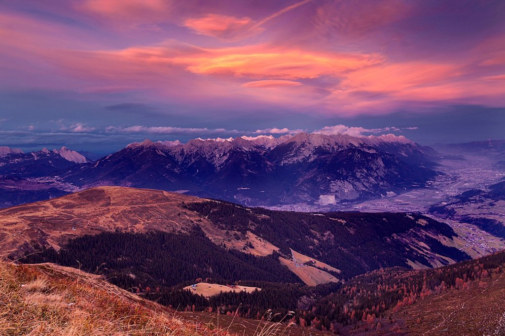 Stock Photo: 1848-627104 Autumnal view of the Inn Valley at sunset, Tyrol, Austria, Europe