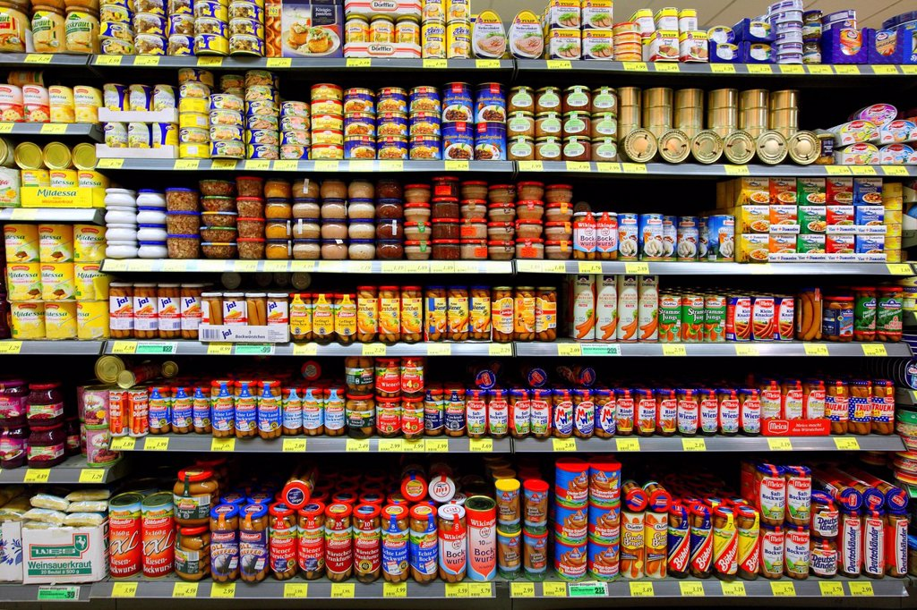 Shelves with meat products in jars and cans, self_service, food department, supermarket, Germany, Europe : Stock Photo