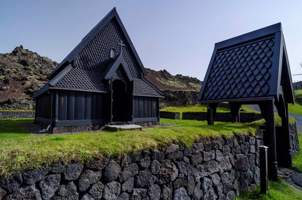 Stave church, Skansinn, Eldfell lava field, town of Vestmannaeyjar, Heimaey Island, Westman Islands, Suðurland or South Iceland, Iceland, Europe : Stock Photo