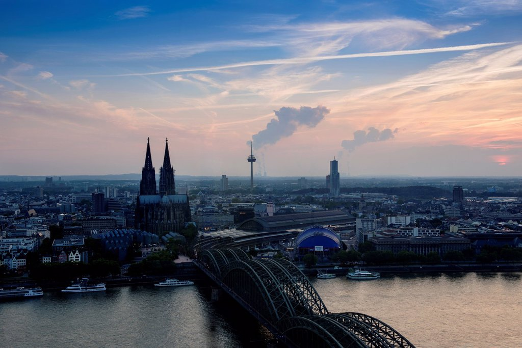 Stock Photo: 1848-627362 Cologne in the evening, dusk, view of Deutz Bridge, old town, Koelner Dom, Cologne Cathedral, Colonius and the Cologne Opera, Cologne, North Rhine_Westphalia, Germany, Europe