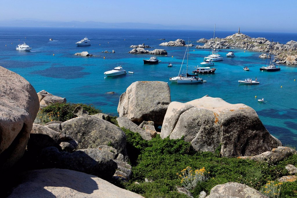 Stock Photo: 1848-627397 Ships at anchor, Lavezzi Islands Nature Reserve, southern Corsica, Corsica, France, Europe