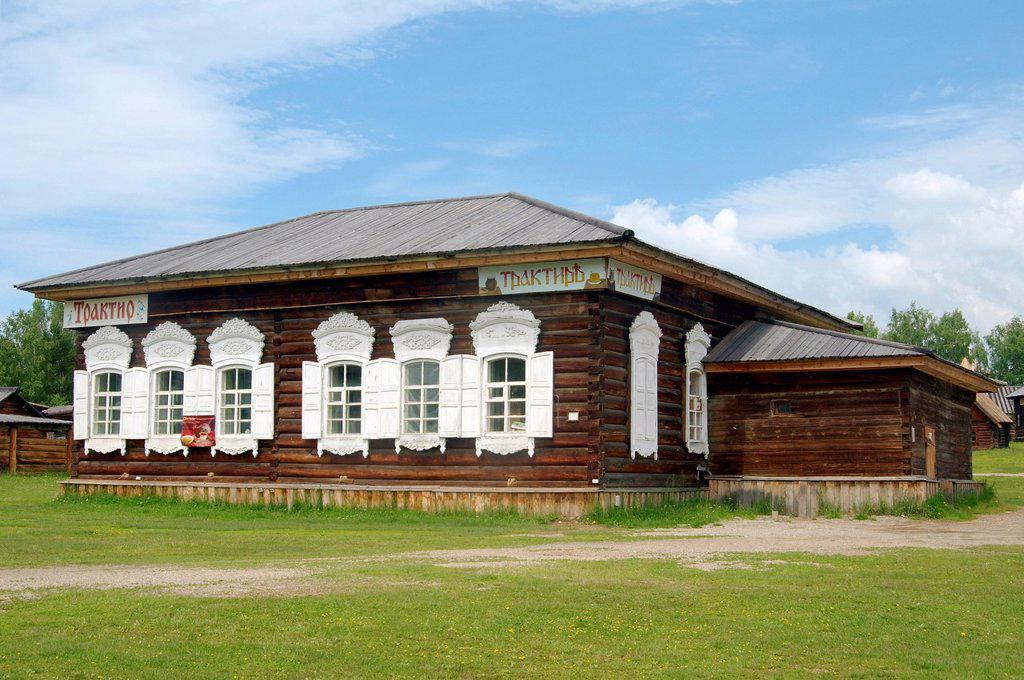 Russian tavern, settlement of Talzy, Irkutsk region, Baikal, Siberia, Russian Federation, Eurasia : Stock Photo