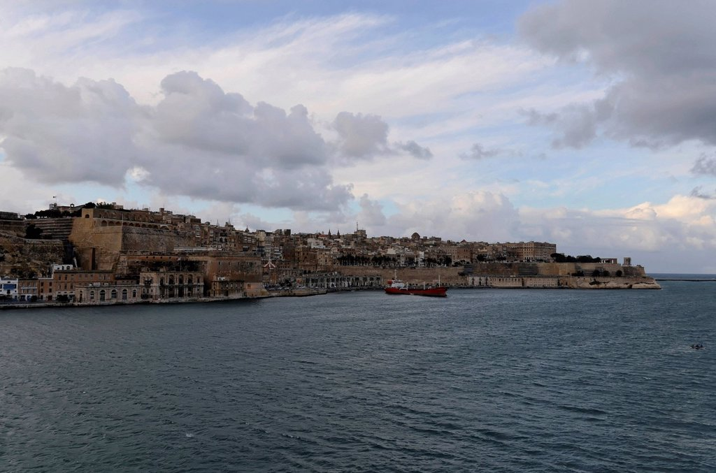 Stock Photo: 1848-627705 View of Valletta, as seen from the fortified city of Senglea, Malta, Europe