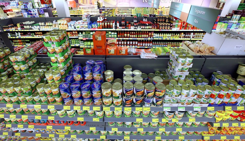 Shelves with a variety of foods, self_service, food department, supermarket, Germany, Europe : Stock Photo