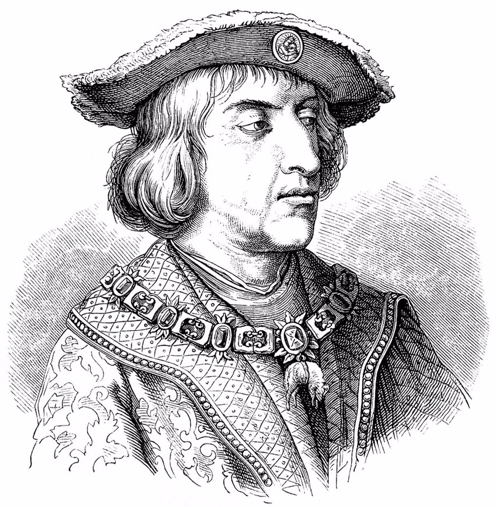 Stock Photo: 1848-628210 Historical drawing from the 19th Century, portrait of Maximilian I of Habsburg, known as the Last Knight, 1459_1519, Duke of Burgundy, German King, Archduke of Austria and Emperor of the Holy Roman Empire