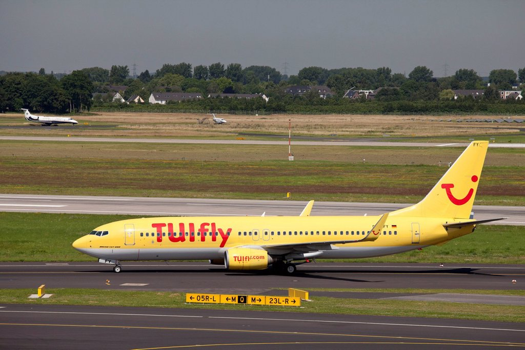Stock Photo: 1848-628216 TUIfly aircraft, Boeing 737_800 on the runway, Duesseldorf Airport, Rhineland region, North Rhine_Westphalia, Germany, Europe