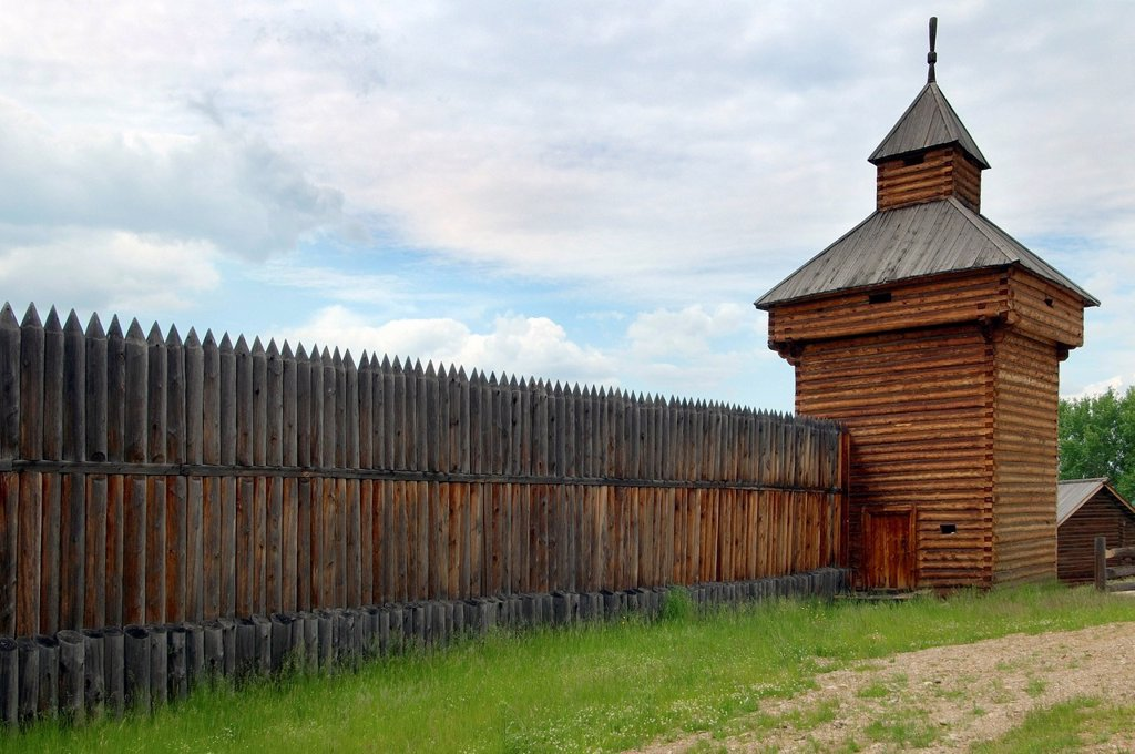 Stock Photo: 1848-628340 Spassky tower of the Ylym jail, 1667, Irkutsk Architectural and Ethnographic Museum Taltsy, settlement of Talzy, Irkutsk region, Baikal, Siberia, Russian Federation, Eurasia