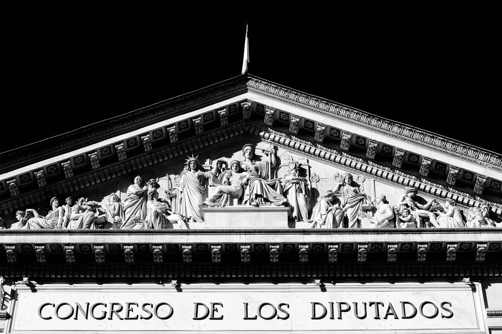 Stock Photo: 1848-628421 Lettering and relief in the tympanum above the main entrance, Congreso de los Diputados, house of representatives, part of the Cortes Generales parliament, Madrid, Spain, Europe, PublicGround