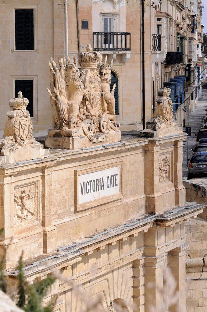 Victoria Gate, old town of Valletta, Malta, Europe : Stock Photo