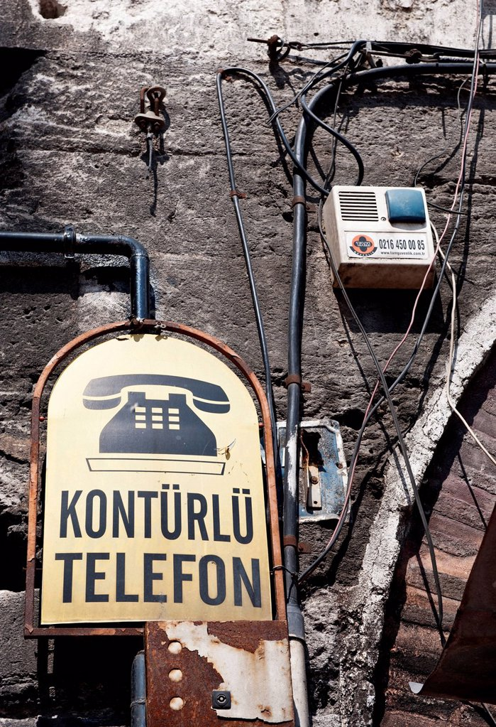 Stock Photo: 1848-628923 Turkish sign for a public telephone, Istanbul, Turkey