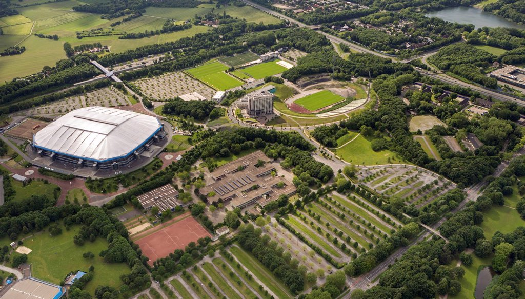 Stock Photo: 1848-629023 Aerial view, Bergerfeld, a comprehensive school and the technical emergency service, THW, Schalke, Veltins_Arena stadium, Gelsenkirchen, Ruhr area, North Rhine_Westphalia, Germany, Europe