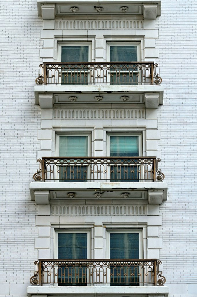 Stock Photo: 1848-629141 Windows with balconies, Joseph Smith Memorial Building, South Temple Street, Salt Lake City, Utah, USA, PublicGround