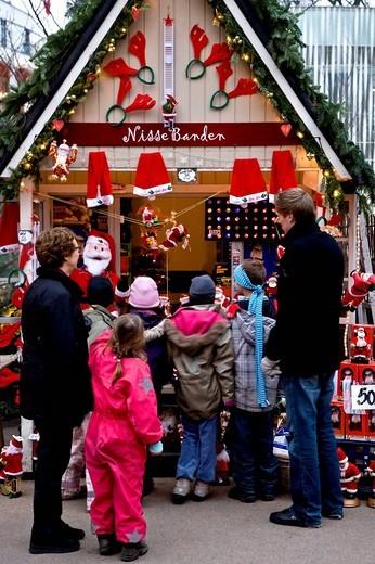 Stock Photo: 1848-62957 Christmas decoration stall in Tivoli, Copenhagen, Denmark