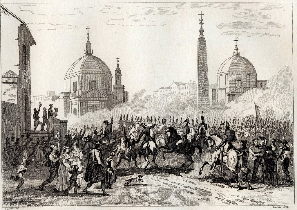 Stock Photo: 1848-629603 Napoleon and French Army entering Rome, Italy, historical illustration, 1860