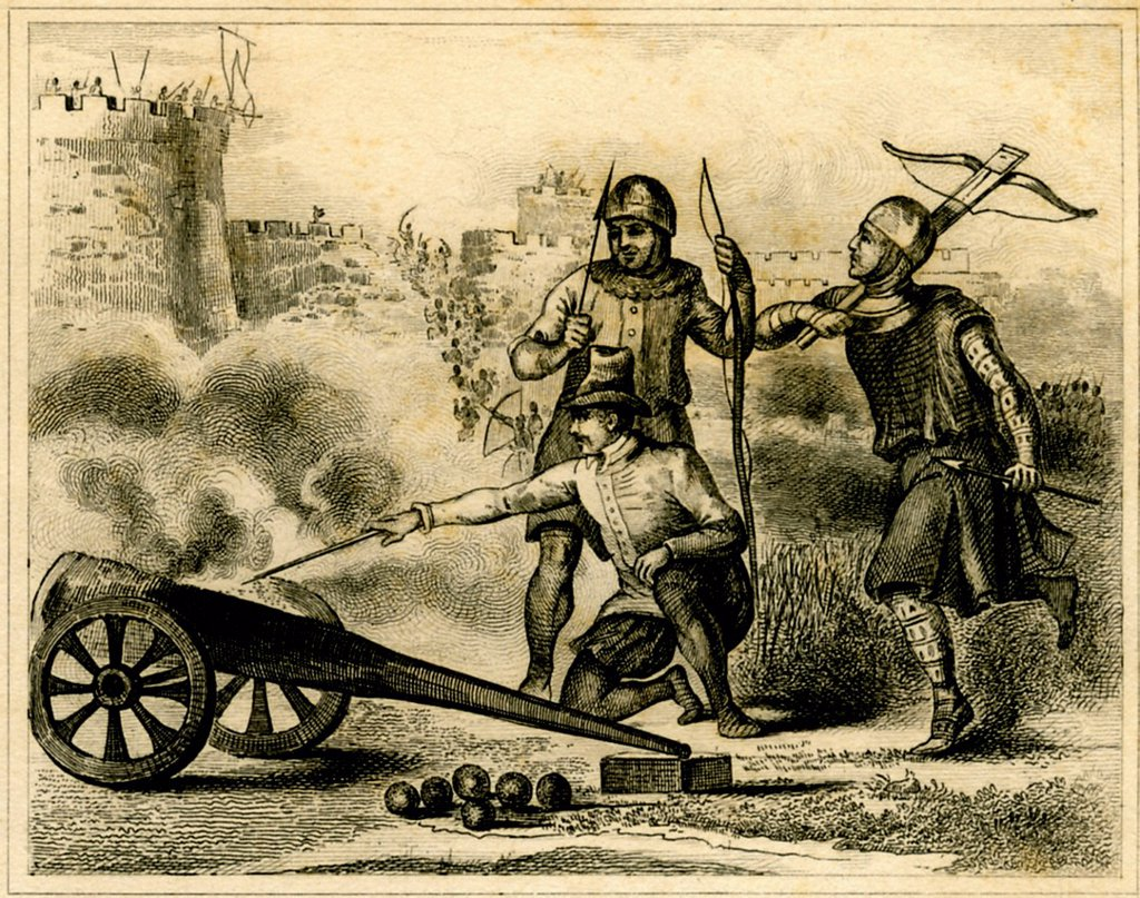 Stock Photo: 1848-629605 English artillery and soldiers in XIII century, historical print from 1860