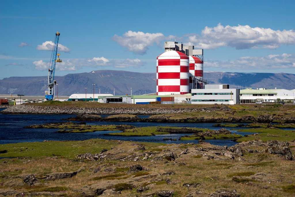 Stock Photo: 1848-629845 Aluminum plant, town of Straumsvík, Reykjanes peninsula, Iceland, Europe, PublicGround