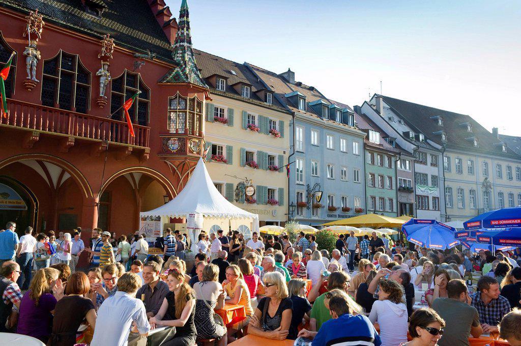 Wine festival in Muensterplatz square, Freiburg im Breisgau, Black Forest, Baden_Wuerttemberg, Germany, Europe : Stock Photo