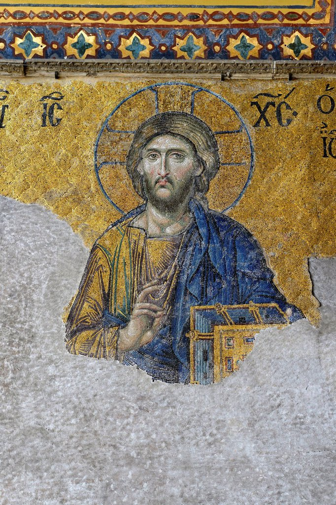 Stock Photo: 1848-630061 Christ Pantocrator, Christ image, Deësis mosaic on the south gallery, interior view, Hagia Sophia, Ayasofya, UNESCO World Heritage Site, Istanbul, Turkey, Europe