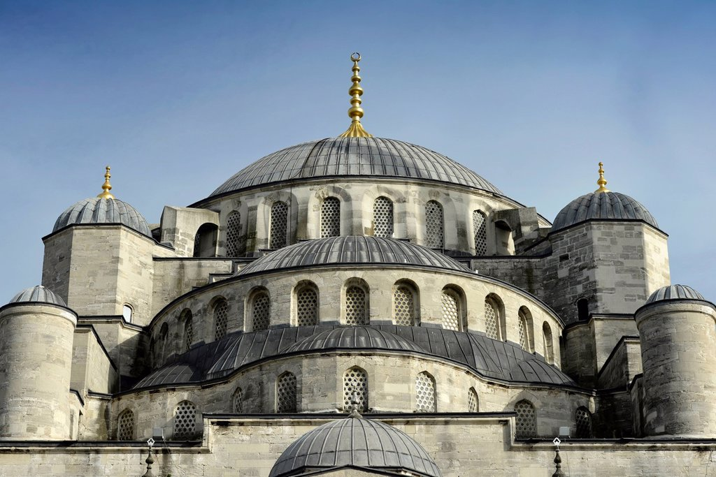 Stock Photo: 1848-630069 Domes of the Sultan Ahmed Mosque or Blue Mosque, Sultanahmet, historic district, a UNESCO World Heritage Site, Istanbul, Turkey, Europe