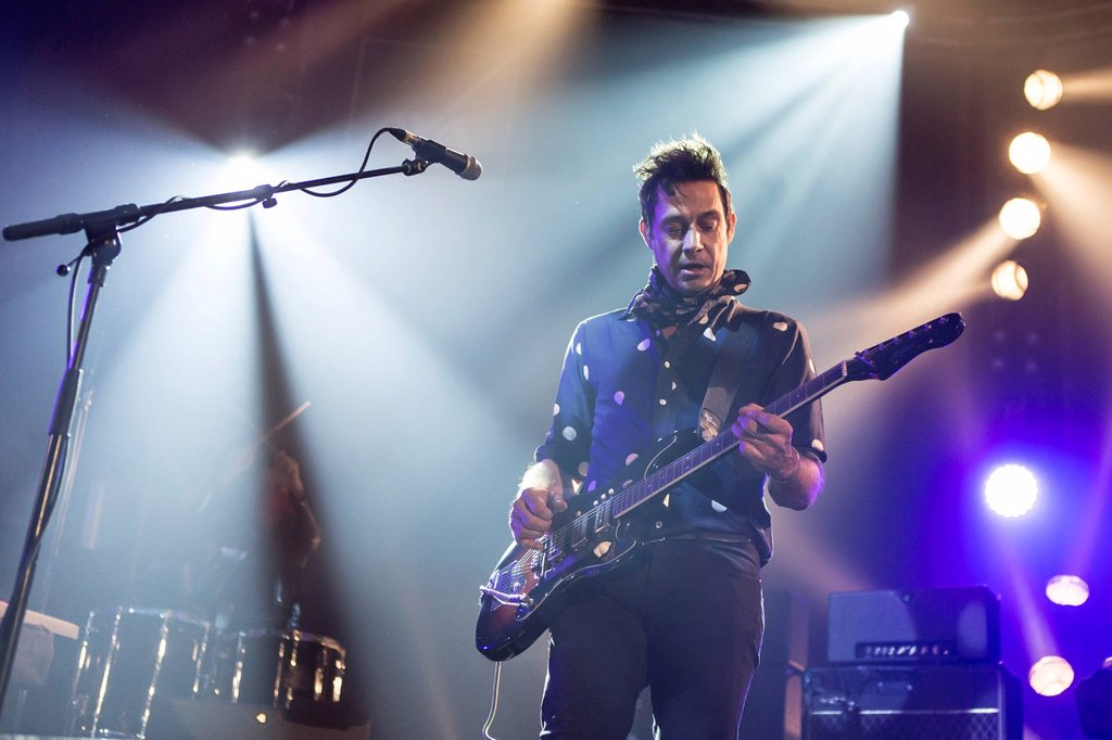 Stock Photo: 1848-630171 Guitarist and singer Jamie Hince of the Anglo_American rock band The Kills performing live at Luzernersaal of the KKL during the Blue Balls Festival, Lucerne, Switzerland, Europe