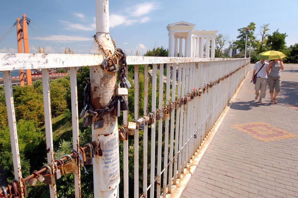 Stock Photo: 1848-630353 Padlocks on the Mother_in_Law´s Bridge, Odessa, Ukraine, Eastern Europe