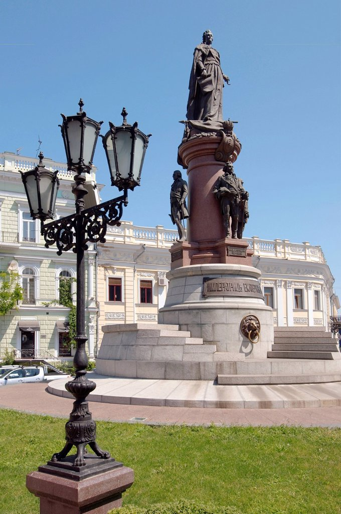 Bronze monument of Catherine the Great, empress of Russia, Odessa, Ukraine, Eastern Europe : Stock Photo
