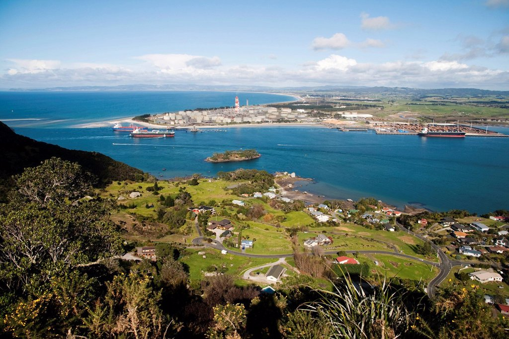 Stock Photo: 1848-631017 View of Whangarei Harbour and Bream Bay, Marsden Point Oil Refinery on Marsden Point, Northland, New Zealand
