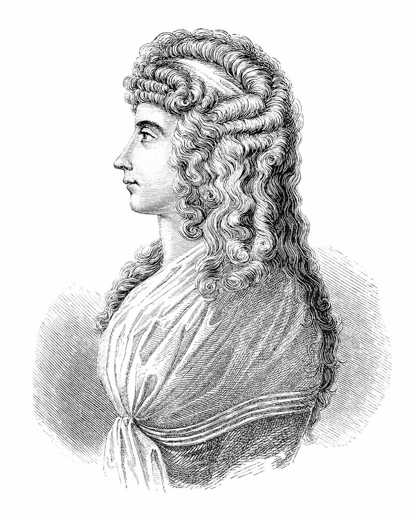 Stock Photo: 1848-631079 Frau von Stein, historical illustration in Deutsche Literaturgeschichte or German literature from 1885