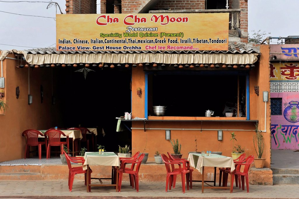 Cha Cha Moon restaurant, Orchha, Madhya Pradesh, North India, India, Asia : Stock Photo