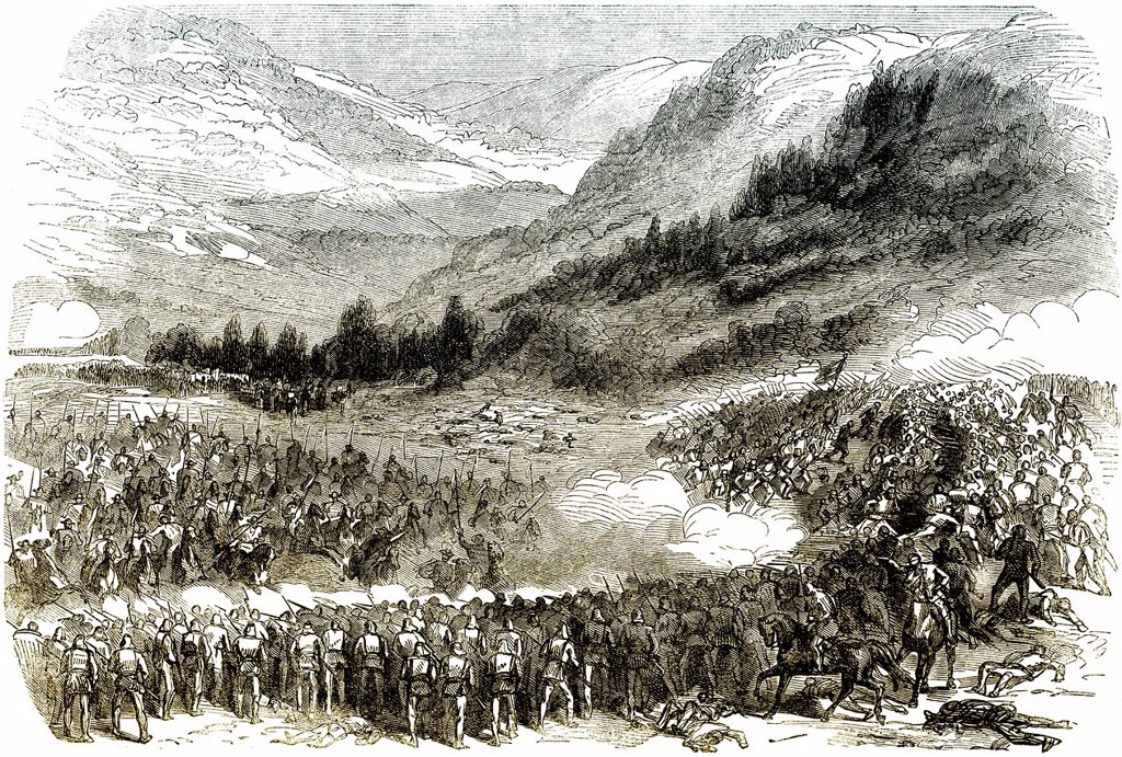 Stock Photo: 1848-631241 Historic drawing, 19th century, the French intervention in Mexico, the Battle of Orizaba, 1862