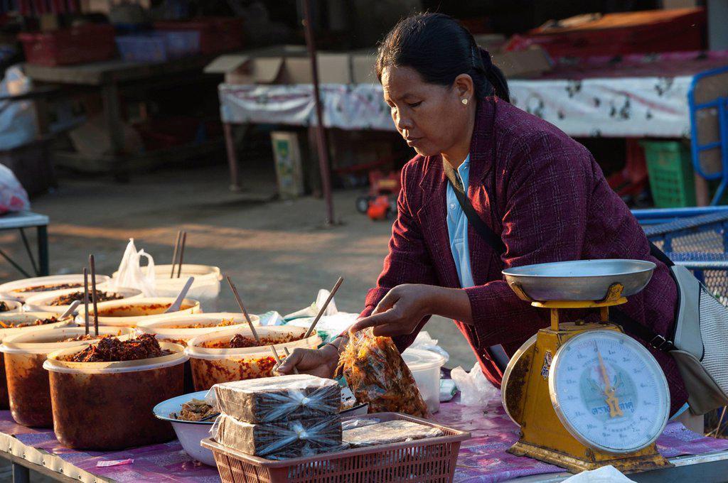 Vendor at a food stall, market, Bin Hin Taek or Therd Thai or Thoed Thai, Northern Thailand, Thailand, Asia : Stock Photo